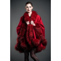 Red Cashmere Cape With Finland Fur Trim