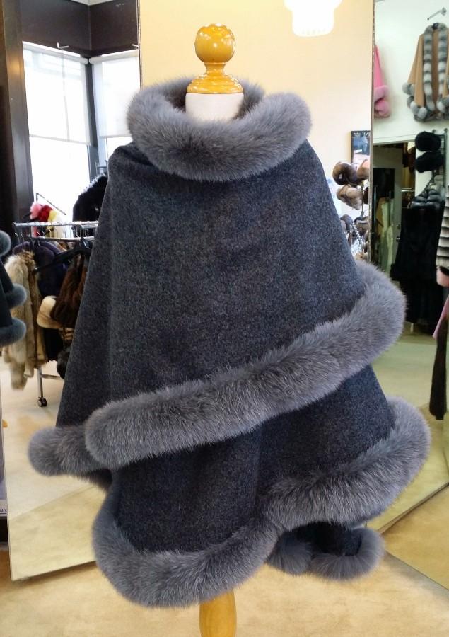 Charcoal Grey Cashmere Cape With Fox Fur Trim