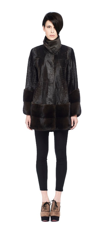 BROWN BROADTAIL JACKET WITH MINK