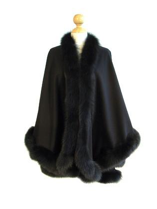 Black Cashmere Cape With Fox Fur Trim