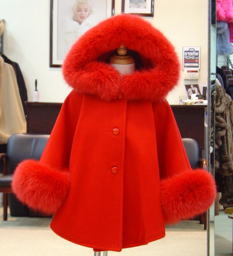 Children's Cashmere Cape/Jacket With Fox Fur Trim