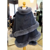Charcoal Grey Cashmere Cape With Fox Fur Trim