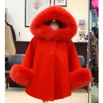 Children's Cashmere Cape/Jacket With Fox Fur Trim