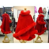 Red Cashmere Cape With Fox Fur Trim